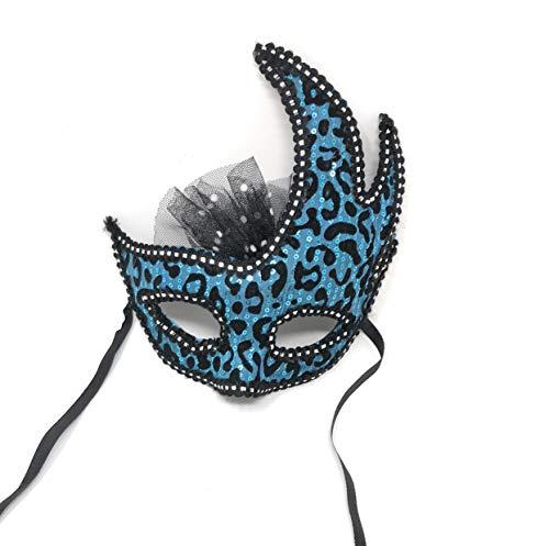 Flomo Sexy Leopard Half Face Mask for Halloween Christmas Masquerade Ball (Sky -