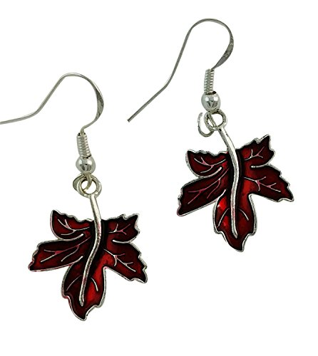 Red Maple Leaf Dangle Earrings with Glittered Enamel Accent, Sliver (Glittered Maple Leaves)