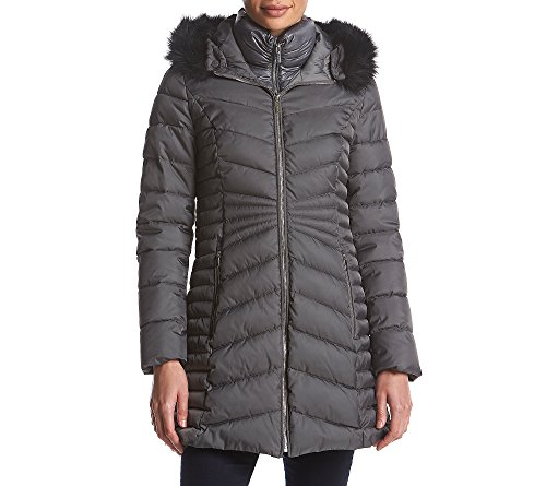 Laundry Puffer Faux Fur Trim Coat Steel Medium