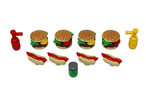 LEGO Four Burgers + Four Hot Dogs BBQ with Ketchup, Mustard, & Relish Toy - Custom Independence Day Fourth of July Bar-B-Que Minifigure ()