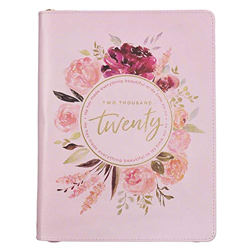 Christian Art Gifts Pink Faux Leather Planner | Everything Beautiful in His Time - Ecclesiastes 3:11 Bible Verse | 18 Month Personal Planner Notebook w/Zipper- Weekly/Monthly Planner 2019-2021