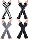 Bememo 4 Pairs Winter Long Fingerless Gloves Knitted Arm Warmer Elbow Length Gloves Thumb Hole Gloves for Women Girls (Color A)