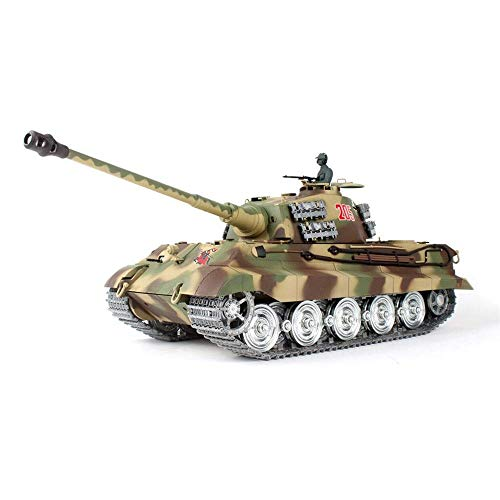 TIEHUE RC Radio Controlled Tank German Tiger King Metal Tank 2.4Ghz Remote Control 1/16 Scale Model, Metal Track, Sound…