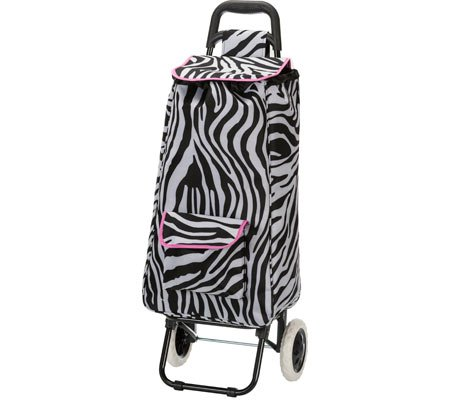 rockland-luggage-rolling-shopping-tote-pink-zebra-one-size