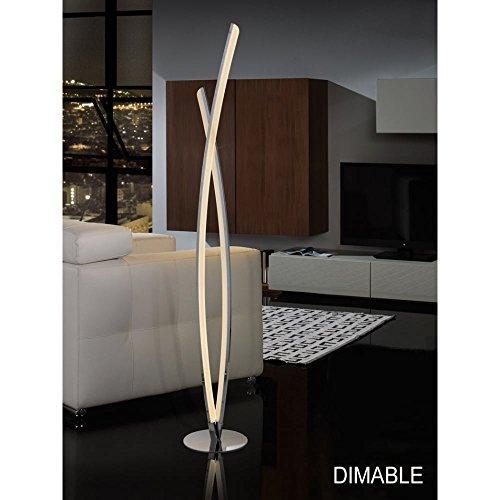 Schuller Spain 736210I4L Modern, Art Deco Chrome Bar Floor Lamp 1 Light Living Room, bed room, Study, Bedroom LED, Double Bar Chrome Floor Lamp | ideas4lighting by Schuller