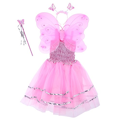 LUOEM 4pcs/set Angle Girls Fairy Costumes Dual-layer Headband Wand Dress Set Christmas Halloween Birthday Party Gift for Children (Pink)