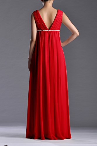 Red Length Full Women's Adorona Dress Line A Chiffon wq1nT0P