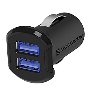 SCOSCHE ReVolt Compact Dual Port USB Fast Car Charger with Illuminated LED Backlight - 12 Watts/2.4 Amps Per Port (24W/4.8A Total Output) - High Speed Universal Multi Device Mobile Charger - Black (USBC242M)