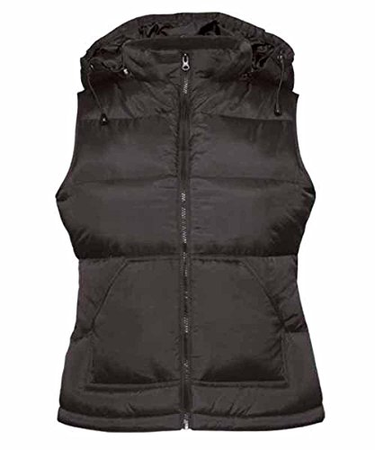 B & C–Bodywarmer Zen Women–chaleco plumífero Anorak sin mangas con capucha–420–42–mujer negro