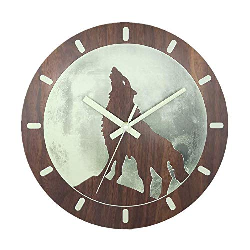 CICN 12 Electroplating Silent Non Ticking Creative Wooden Wall Clocks Brown