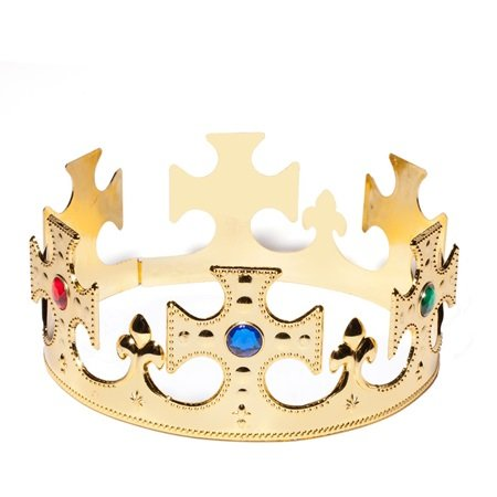 Crown Jeweled Plastic (Gold Plastic Jeweled King Crown with Colored Gem Accents)
