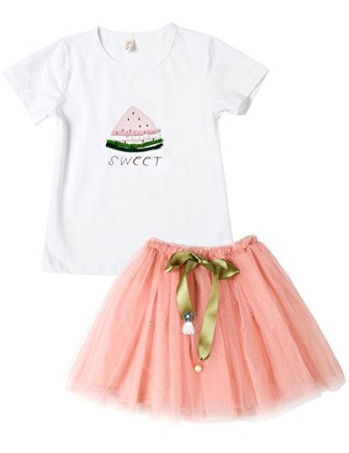 Spring&Gege Little Girls Watermelon Print Birthday Outfits 2pcs Summer Top and Tulle Skirt Set