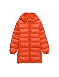 Bmeigo Boys Hooded Medium-long Overcoat Zipper Outwear Winter Down Jacket