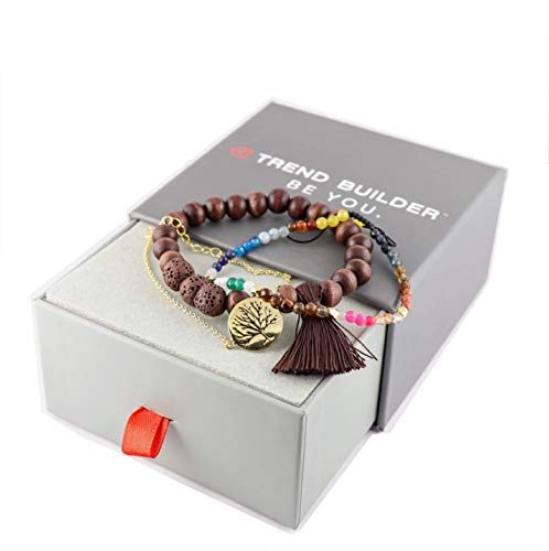 - Trend Builder Inc | New Natural Lava Rock Stone Essential Oil Diffuser Tassel Bracelets for Aromatherapy | FIRST AID rescue aroma bracelet kit | Distance Friendship Mala Tibetan String Prayer Beads | 20 OPTIONS | Gift Box Included | For Man Women Couples