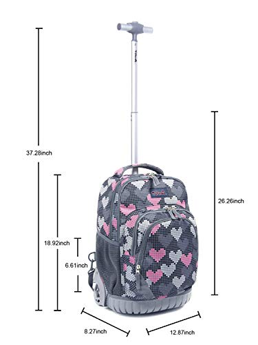 Tilami Rolling Backpack Armor Luggage School Travel Book Laptop 18 Inch Multifunction Wheeled Backpack for Kids and Students (Falling Love 1) by Tilami (Image #5)