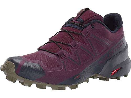 Salomon Women's Speedcross 5 Trail Running Shoes, Potent Purple/Ebony/Burnt Olive, 5 by SALOMON