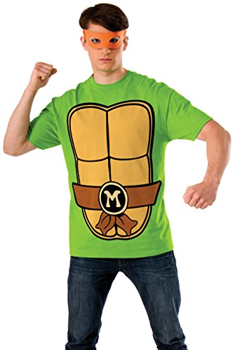 Nickelodeon Ninja Turtles Shirt With Mask and Michelangelo, Green, Large]()