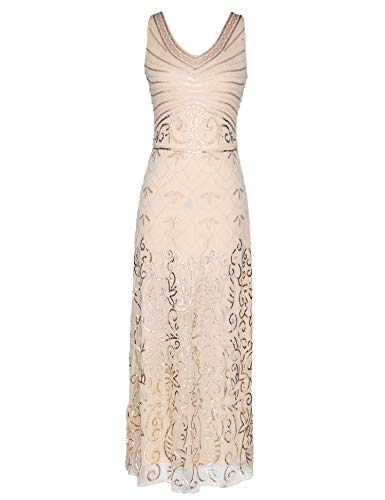 (celeblink Women's Sequin Vintage 1920s Formal Dress Maxi Evening Prom Dresses Gowns (Beige, L))
