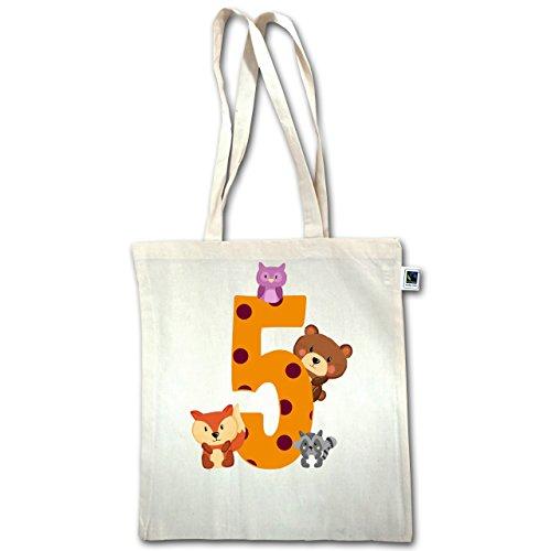 Compleanno Bambino - 5 ° Compleanno Foresta Animali - Unisize - Natural - Xt600 - Manici Lunghi In Juta Bag