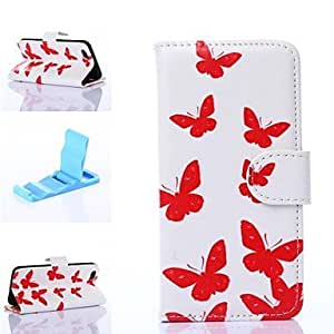 JOE White Background Red Butterflies Pattern PU Leather Full Body Cover with Stand for iPhone 6