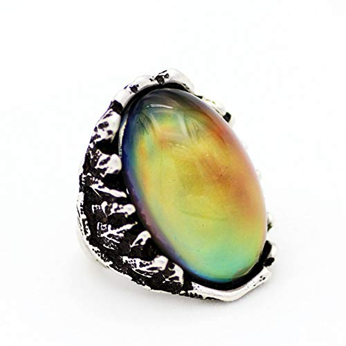 DesirePath Ladies Vintage Ring Natural Gemstone Marquise Opal Boho Charming Jewelry Gift Silver