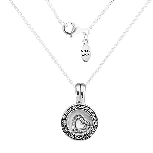 (CKK DIY ❤925 Sterling Silver❤ Necklaces Floating Charms Memory Locket Pendant Necklace with Round Cubic Zirconia Diamond Silver Chain 17.7