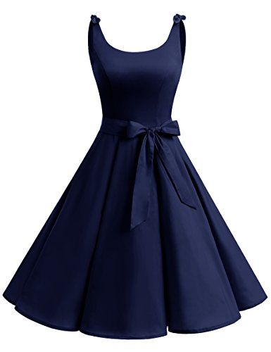 Bbonlinedress 1950's Bowknot Vintage Retro Polka Dot Rockabilly Swing Dress Navy S