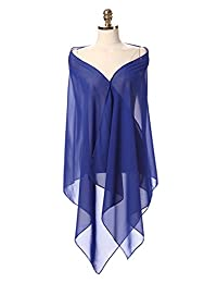 Sunnygirls Chiffon Shawl for Dresses in Different Colors To Each Wedding Dress (Royal Blue)