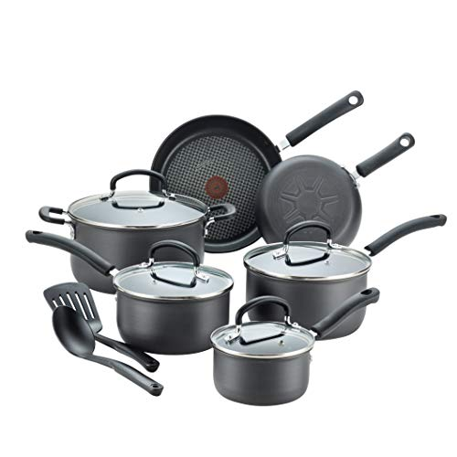 (T-fal E765SC Ultimate Hard Anodized Nonstick 12 Piece Cookware Set, Dishwasher Safe Pots and Pans Set, Black )