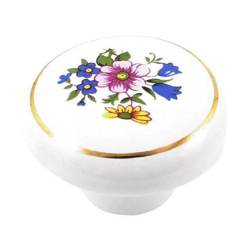 - EbuyChX 38mm Dia Cabinet Door Drawer Flower Pattern Ceramic Knob Pull