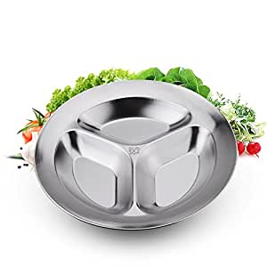 Stainless steel cutlery,plates,thickened fast food dish,three-cell dishes-A complete set