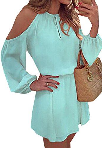 Primavera Estate Donne Abiti a Manica Lunga Senza Spalline Abito in Chiffon Sciolto Casual Vestito a Mini Dress Vestitini Cielo blu