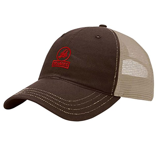 Speedy Pros Seabees Outline Embroidery Design Richardson Cotton Front and Mesh Back Cap Brown/Khaki