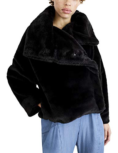 NEVEREVEN Women's Funnel Neck Faux Fur Cropped Jacket, Caviar, S ()