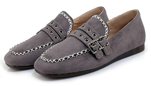 SHOWHOW Womens Comfy Square Toe Buckle Low Top Slip On Flats Shoes Gray 9Ofr54Tib