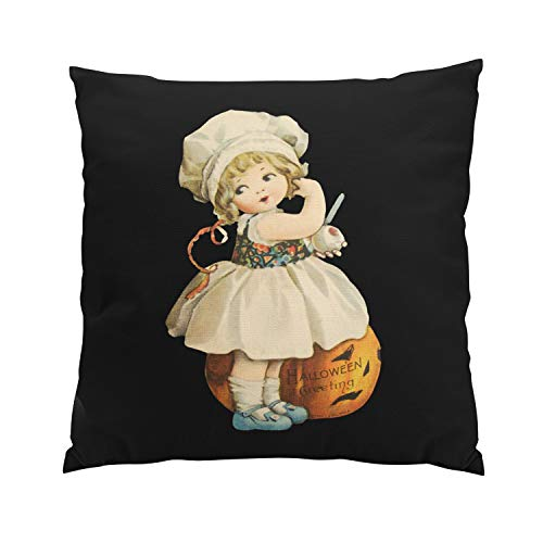 Wermi Girl Carving Apple Halloween Fancy Hidden Zipper Home Sofa Decorative Throw Pillow Cover Cushion Case 16x16 Inch Square Two Sides Design Printed Pillowcase -