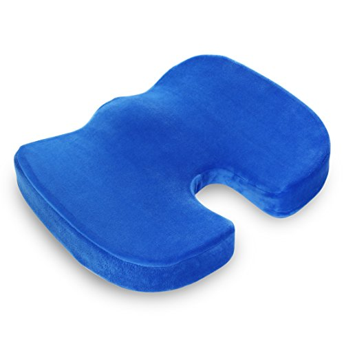 Premium Gel Heel Pillow (Seat Cushion Pad - Orthopedic Memory Foam Pillow for Car, Office Chair, Truck, Wheelchair, Airplane, Floor - Support Relief for Back, Tailbone, Coccyx, Sciatica, Prostate Pain by ComforTool - Blue)