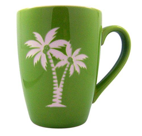 Beach Palm Tree Tall Ceramic Etched Coffee Mug, 16 oz - Ceramic Palm Tree