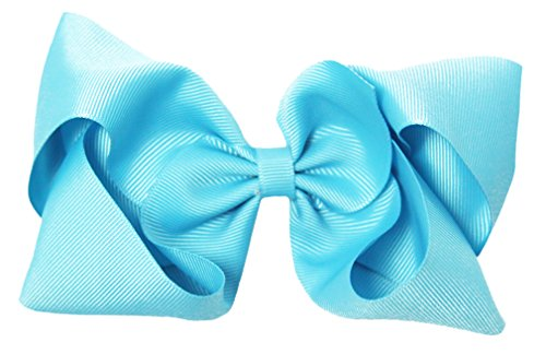 (Turquoise Grosgrain Hair Bow Clip - 6
