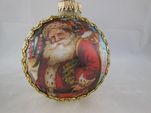 Classic Krebs West Germany Christmas Santa Gold Glass Ornament 3.25