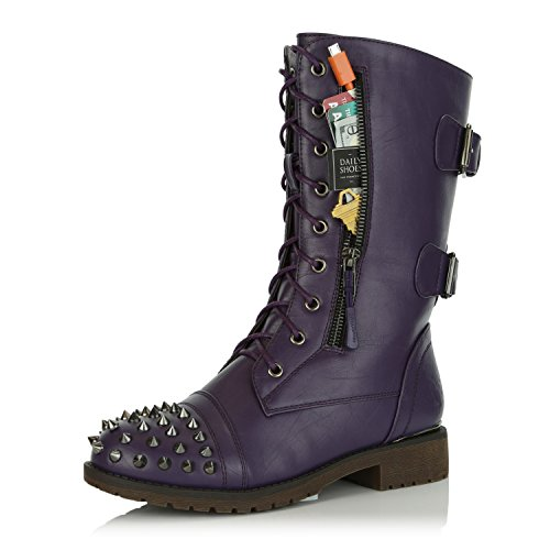 DailyShoes Women's Military Lace Up Buckle Combat Boots Mid Knee High Exclusive Credit Card Pocket Front Studded Booties, Purple PU, 11 B(M) US