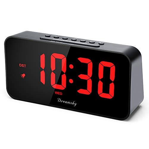 DreamSky 7.3 Inches Large Alarm Clock Radio with FM Radio and USB Charging Port, 2 Inches Number Display with Dimmer, Adjustable Alarm Volume, Weekday Display, Snooze, Sleep Timer, DST Setting.