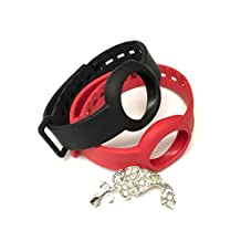 BSI Set 1pc Red and 1pc Onyx / Black Colors Replacement Straps for Jawbone UP Move Only /No tracker/ Wireless Activity Bracelet Sport Wristband Bracelet Sport Arm Band Armband + Nice Crystals Feather Brooch