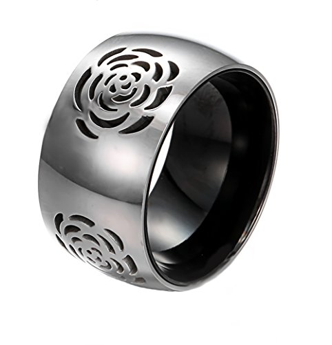 HERACULS 316L Stainless Steel Ring 11mm Two Tone Black IP with Grooved Rose Eternity Wedding Engagement Band Size 5-12