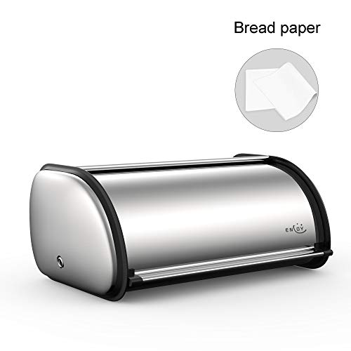 Bread Box for kitchen Counter, Stainless Steel Roll Top Bread Bin, Sliver Bread Storage Holder with Lid, Large Capacity Bread Keeper, 17 x 11 x 7 Inches