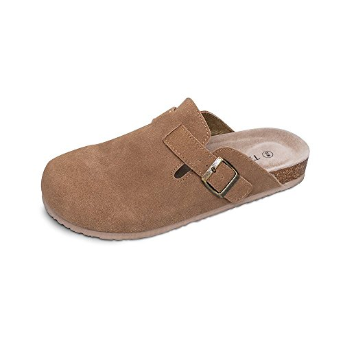 TF STAR Unisex Boston Soft Footbed Clog Cow Suede Leather Clogs, Cork Clogs Shoes for Women Men Tan