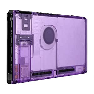 eXtremeRate Transparent Clear Purple Console Back Plate DIY Housing Shell Case for Nintendo Switch Console with Kickstand – JoyCon Shell NOT Included
