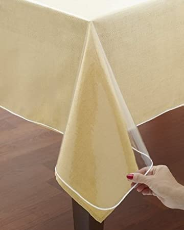 Exceptional Clear Vinyl Tablecloth Protectors. Hemmed Border. Protects Linens From  Spills. Various Sizes (