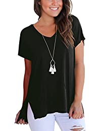 Women's Short Sleeve High Low Loose T Shirt Basic Tee...