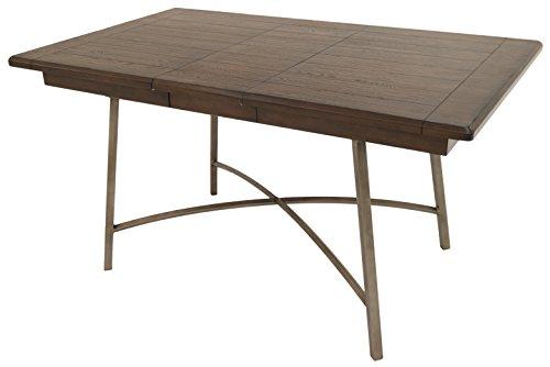 Impacterra Wilshire Rectangular Dining Table, Rustic Silver/Walnut (Leaf Table Vintage Drop)